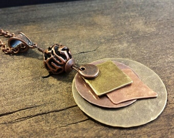 Mixed Metal Necklace, Metal Necklace, Boho Necklace, Earthy Necklace, Pendant Necklace, Copper and Bronze Necklace