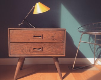 Walnut Nightstand - Bedside Table - danish mid century modern - solid walnut - chest of drawers - scandinavian - dresser - oak