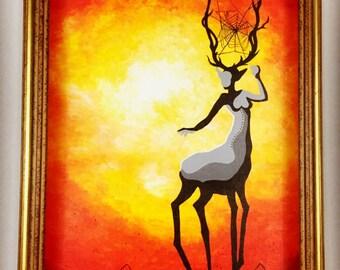 Figurative art, woodland art, modern wall art, whimsical art painting, deer artwork, original art work, home decor art