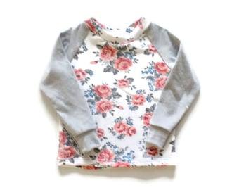 Girl's Baseball Tee - Baseball Raglan - Salmon Grey Floral Top