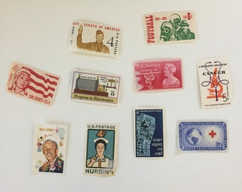 Unused vintage postage stamp set - American Progress - 10 stamps