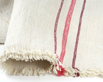 Vintage Grain Sack Table Runner - Red Stripe