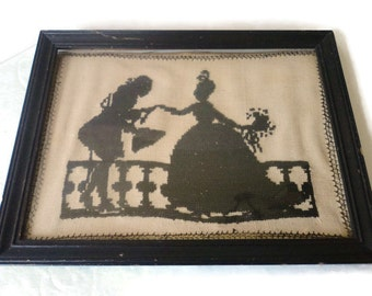 Antique Early Needle Point Silhouette On Muslin Framed Picture Wall Hanging