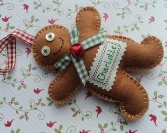 Personalised Felt Gingerbread Man