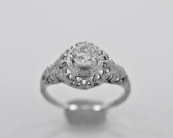 Antique Engagement Ring .60ct. Diamond & 18K White Gold Art Deco - J35620