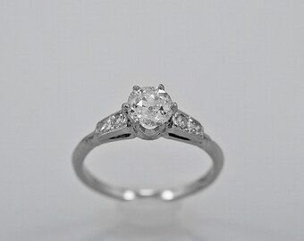 Antique Engagement Ring .60ct. Diamond & Platinum Art Deco - J35761