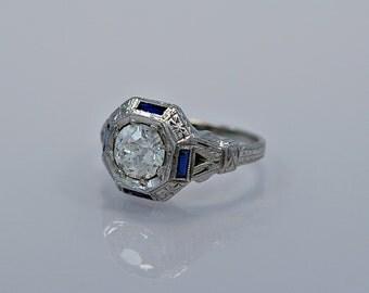 1.07ct. Diamond, Sapphire & 18K White Gold Art Deco Engagement Ring - J34319