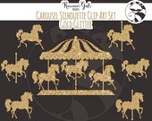 50% OFF Gold Glitter Carousel Silhouette Clip Art Set - Personal & Commercial Use