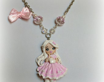 Necklace polymer clay doll handmade doll pink