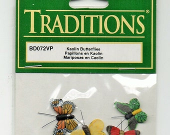 Traditions Dimensional Butterfly Embellishments - Set of 4 Different Butterflies - New