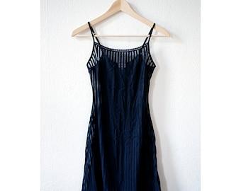 Black Sheer striped LBD w Lace Detail Trim, XS