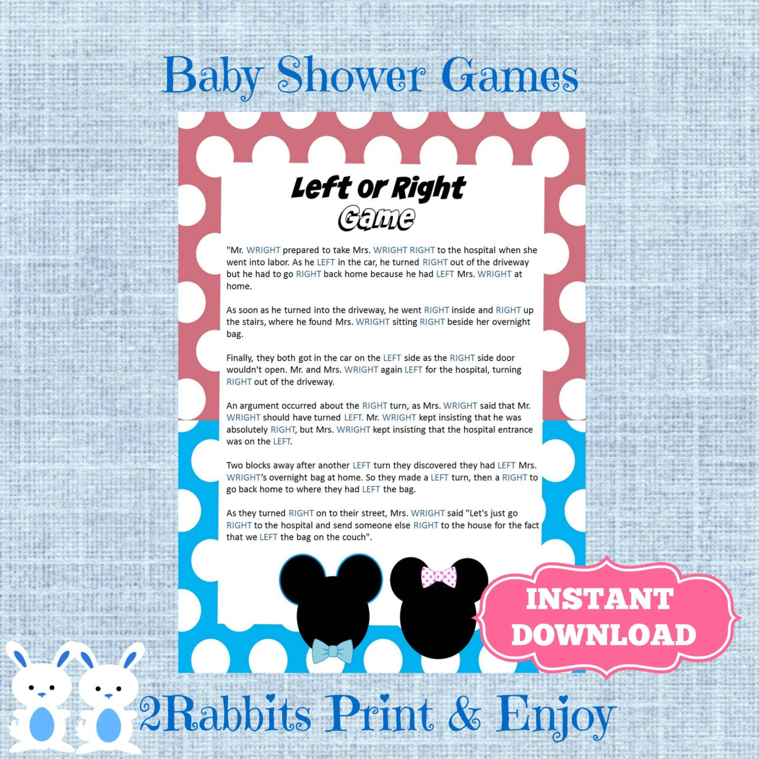 Gender Reveal Left Right Baby Shower Game Instant