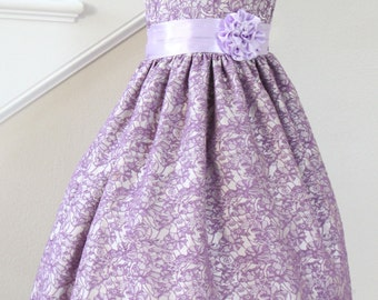 Purple Lilac Flower Girl Dress Brocade, Available in Various Colors