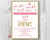 Twinkle Twinkle Little Star First Birthday Invitation - Pink and Gold Glitter - DIY Digital File (PDF or JPEG)