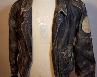 FREE  SHIPPING  Distressed Aviator Leather Jacket