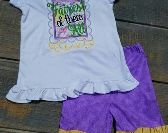 3 pc set, Fairest of them All, double ruffle Capris, ruffle shirt, embroidery