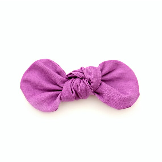 BOLD LILAC Fabric Bow : Knotty Gal Style on a Clip or Nylon Headband  // Machine Washable