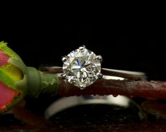 Solitaire Engagement Ring in 6-Prong 14k White Gold Mounting, 6.5mm/1.00ct Forever Brilliant Moissanite Center, Classic Crown Setting, Nancy