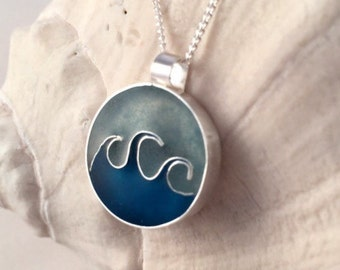 Ocean Waves Necklace, Sterling Silver Necklace, Beachy Necklace, Surfer Jewelry, Beachy Jewelry, Nautical Jewelry, Blue Necklace