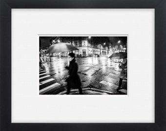 City night shift, black and white street photography, urban rain