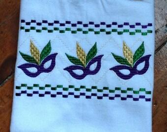 Mardi Gras Masks Faux Smocked T-Shirt