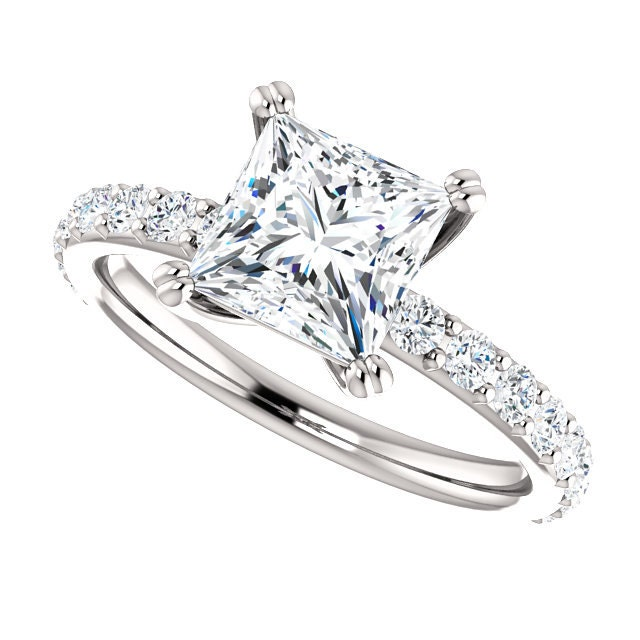 Moissanite Engagement Ring Princess Cut By Dkbjewelrydesigns