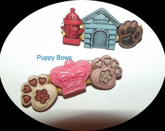Puppy Bows ~Barrette DOG HOUSE paw print Male or female  princess fire hydrant bow ~USA seller