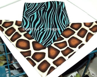 Puppy Bows~2 over the collar dog pet bandana large blue zebra brown leopard~US Seller