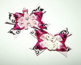 Puppy Bows ~Pink black dog house princess dog bow pair pet hair clip barrette
