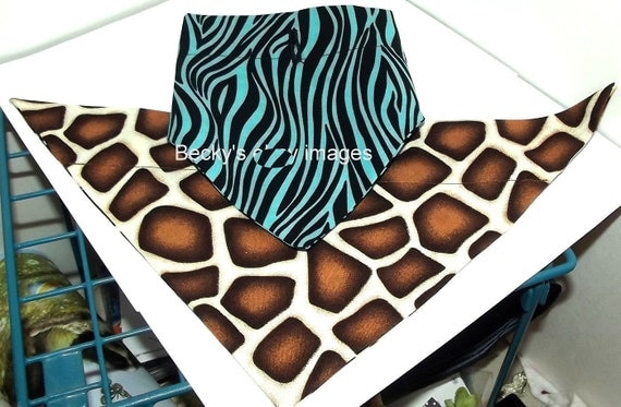Puppy Bows~2 over the collar dog pet bandana large blue zebra brown leopard~US Seller