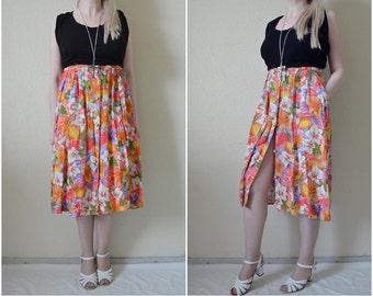Vintage Floral midi skirt button up High waist Pockets pleated 90s Colourful floral print Tropical print Summer Petite M Medium UK 12 30