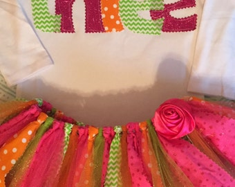 Hot Pink, Lime, and Orange Birthday Tutu Outfit