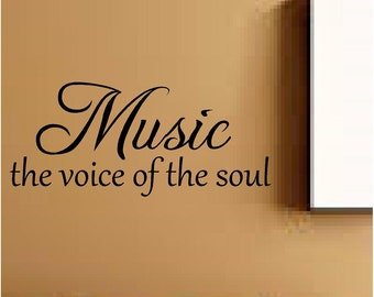 Music the voice of the soul wall quote wall sticker home decor teen girl boy bedroom you choose size and colour