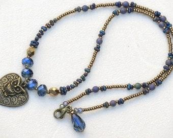Czech Glass Bohemian Beaded Owl and Heart Necklace