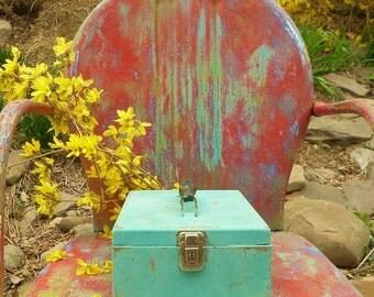 Aqua Metal Box , Aqua Cash Box , Industrial Storage Box , Aqua Metal Storage Box , Vintage Metal Box