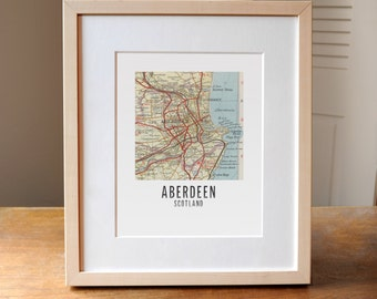 Any City Square Map Print, Customized Map Print, Aberdeen Scotland Map Art, Scotland map, Map of Scotland, Aberdeen Art