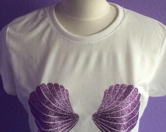 Glitter Seashells Iron On, Mermaid Seashells Shirt