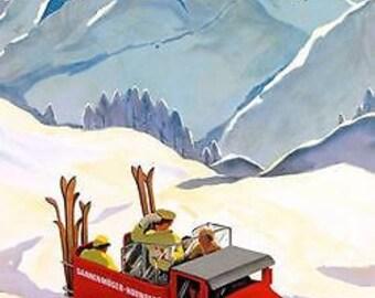 Vintage Gstaad Switzerland SkiingTourism Poster A3 Print