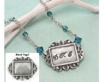 """Artisan Rectangle Pewter Stamping Blank, Rectangle Blank, Qty 1 Ready to Stamp, Connecter Link Pewter Blanks, 1 3/16"""" x 1"""" Green Girl Studio"""