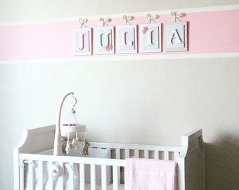 Pink and Cream Nursery Letters,Girls Nursery Letters, Pink Wall Letters, Hanging Wood Letters, Wall Letters,Girl Wall Letters,Hanging Letter