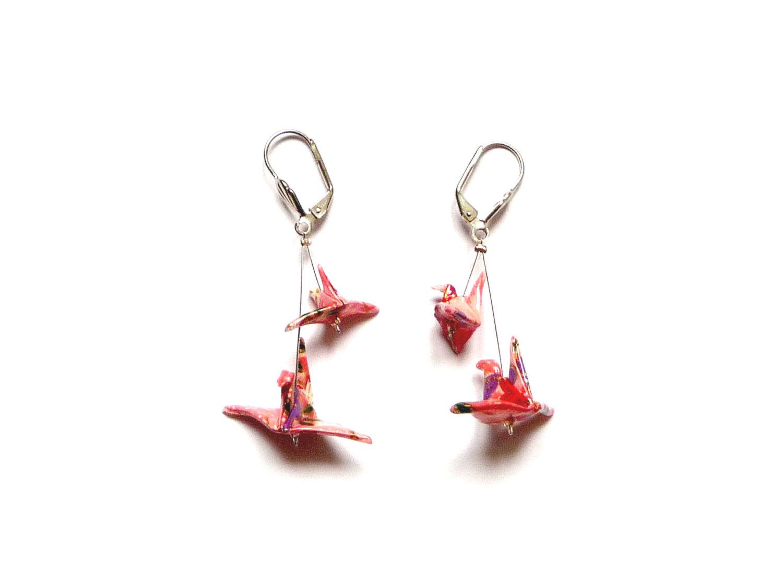 Origami Earrings Birds Pink