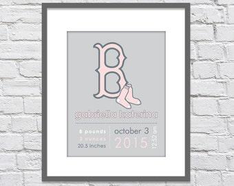 Pink Boston Red Sox Birth Announcement Keepsake Print/ Red Sox Baby Gift / Red Sox Nursery/ Boston Red Sox / Girls nursery - 8x10 +