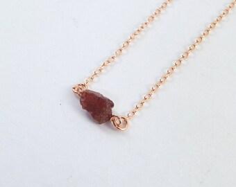 Raw Garnet Captive Stone  Necklace (Rose Gold)