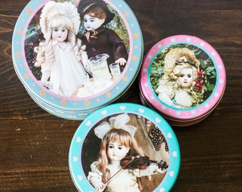 Whimsical - Set of 3 nesting tins, Antique Dolls, Photographed by Marcia Creswell, Pastel colors tin, Vintage Metal Tins, Cookie Tins