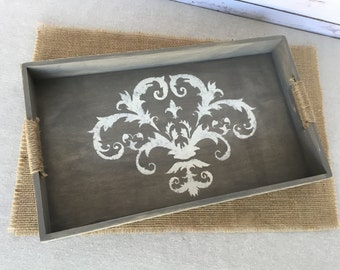 Wood serving tray - shabby chic decor - smoky gray