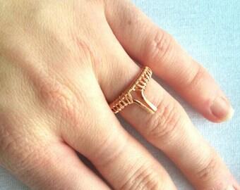 Bohochic wire woven ring, bohemian copper jewelry, nature gypsy jewelry, bohemian jewelry