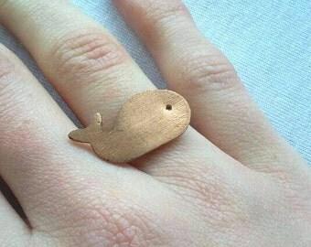Walvis koperen ring, natuur sieraden, avontuur walvis ring