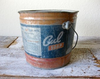 Vintage Cul Soap Bucket ~ Rustic Bucket ~ Vintage Metal Bucket ~ Vintage Advertising