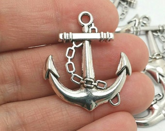 5 Anchor Charms, Nautical Charms, Beach Charms, Silver Anchor Charms (1-1249)