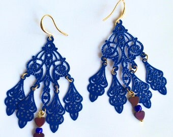 Bohemian Chandelier Earrings Cobalt Designer Earrings Unique Gypsy Boho Chic Earrings Statement Earrings